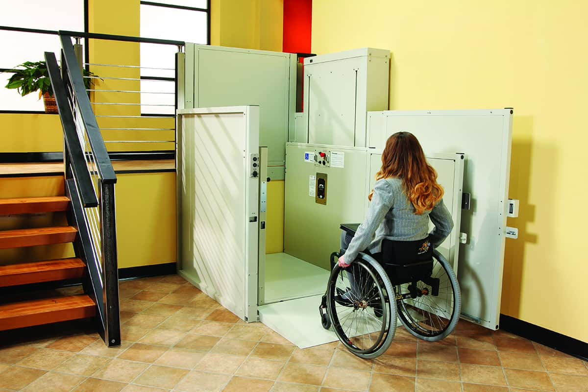 Wheelchair lift inside of commercial business