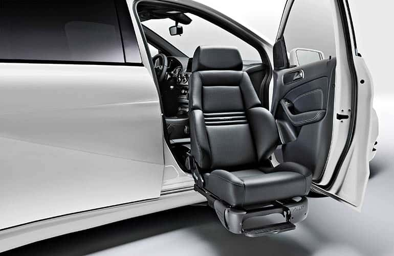 A seat lift (Turny Evo) installed in a Mercedes-Benz car.